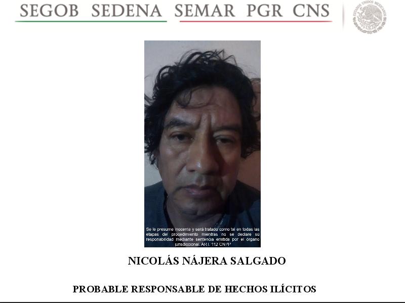 Detienen a Nicolás Nájera Salgado, jefe de plaza de Guerreros Unidos