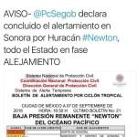 Declara Concluido el alertamiento en Sonorapor Huracan Newton.